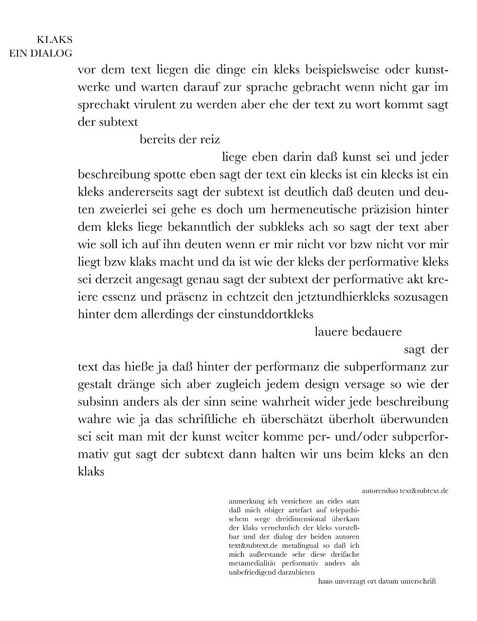 Hans Unverzagt Klaks Ein Dialog Signaturen